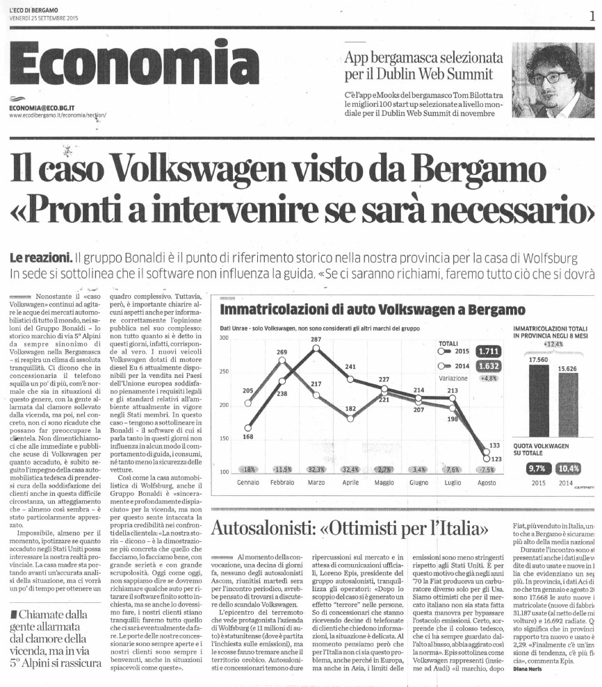 Diesel Gate visto da Bergamo